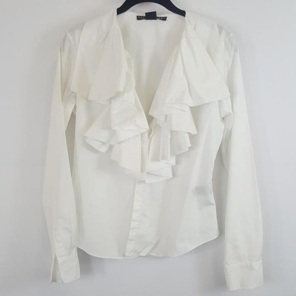 Ralph Lauren white button down ruffle top size 6. M 5a79f24aa6e3ea3384624e2d 637710090dc7